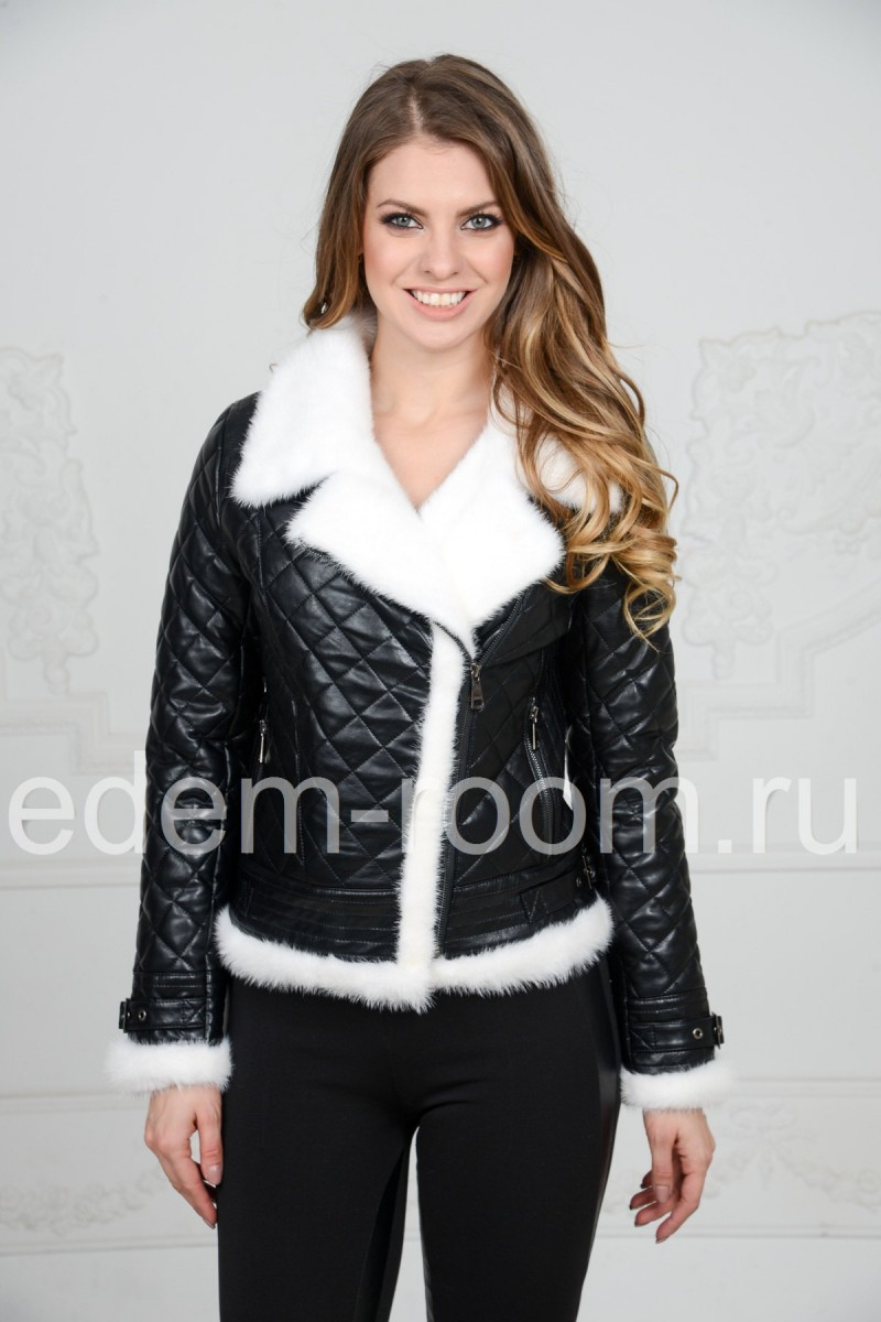 Короткая эко-куртка украшенная мехом норки