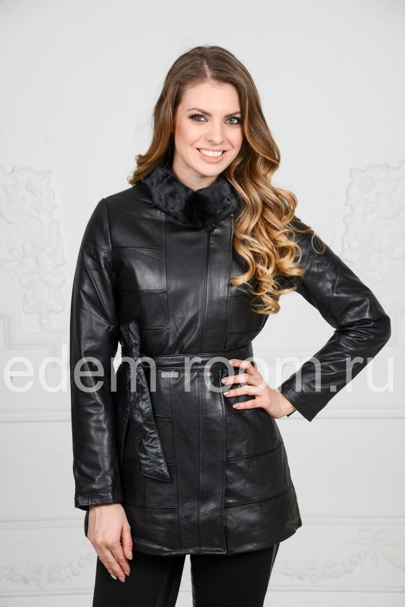 Утеплённая куртка из кожи