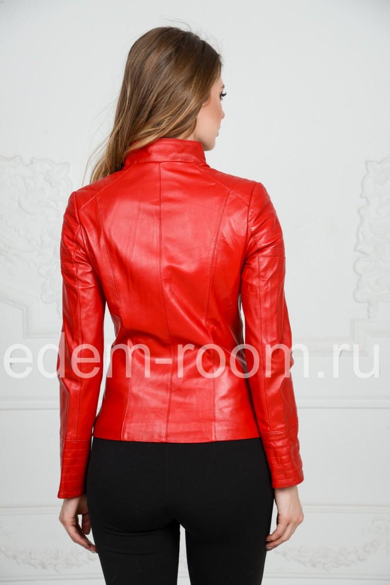 Весенняя женская красная кожаная куртка из натуральной кожи