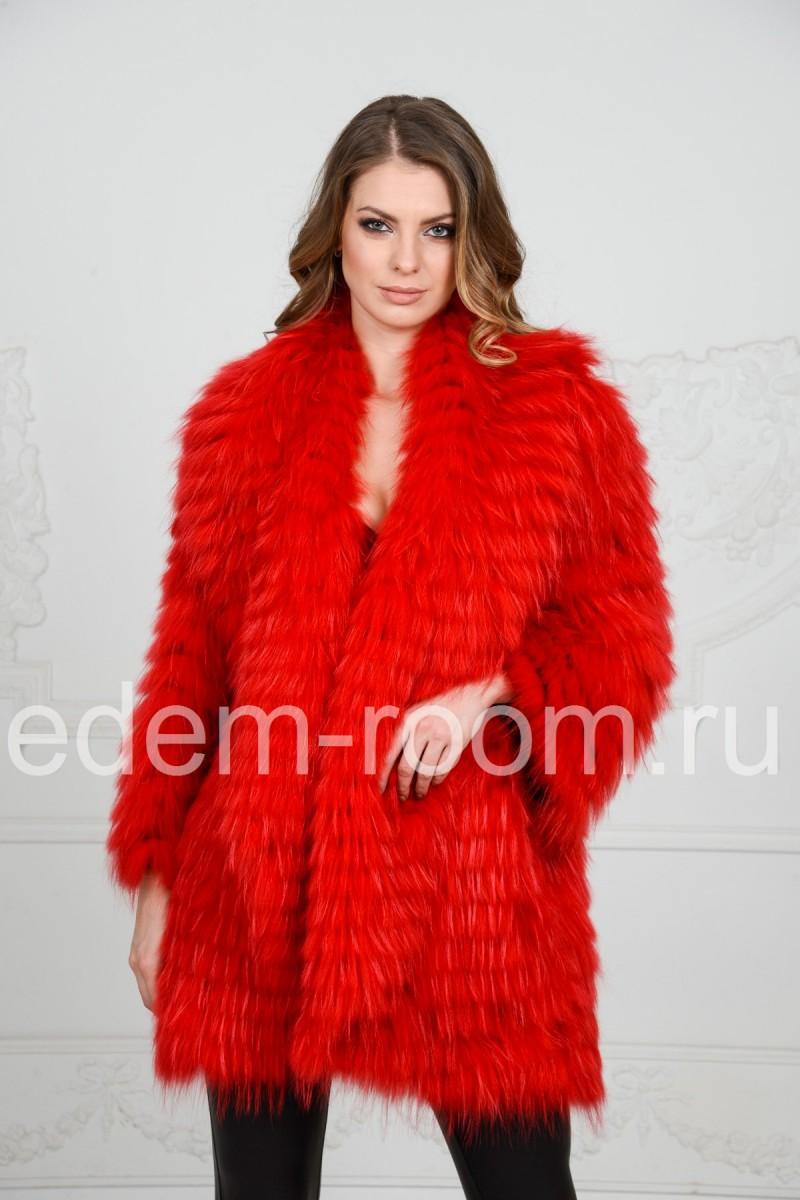Цветное пальто из меха лисы