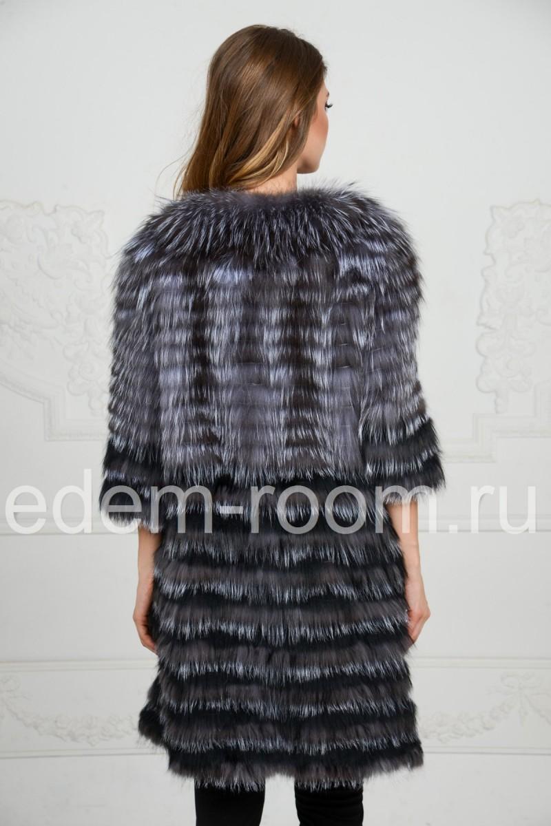 Меховое пальто в росшив на кашемире