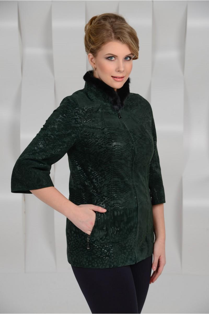 Зелёная куртка из натуральной замшевой кожи