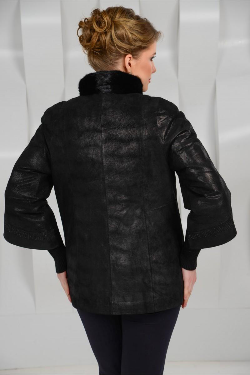 Утеплённая  куртка из замшевой кожи