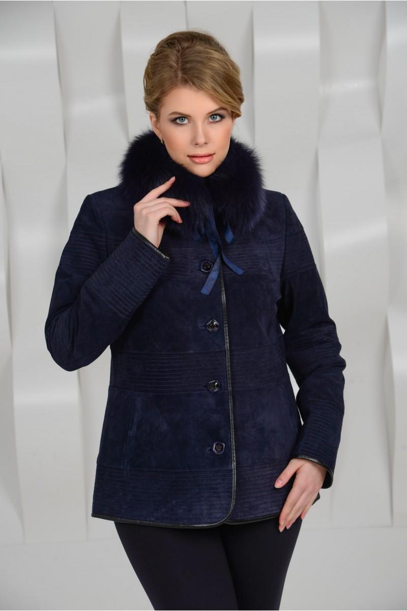 Элегантная синяя куртка из натуральной замши