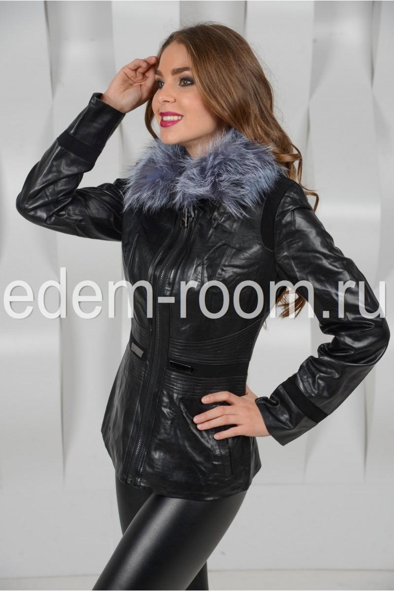 Осенняя куртка из экокожи с мехом