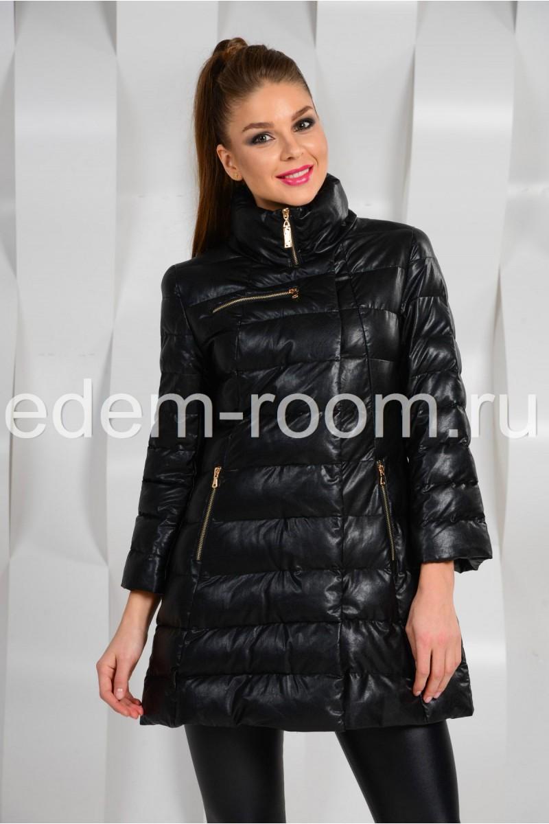 Молодёжное пальто из эко-кожи