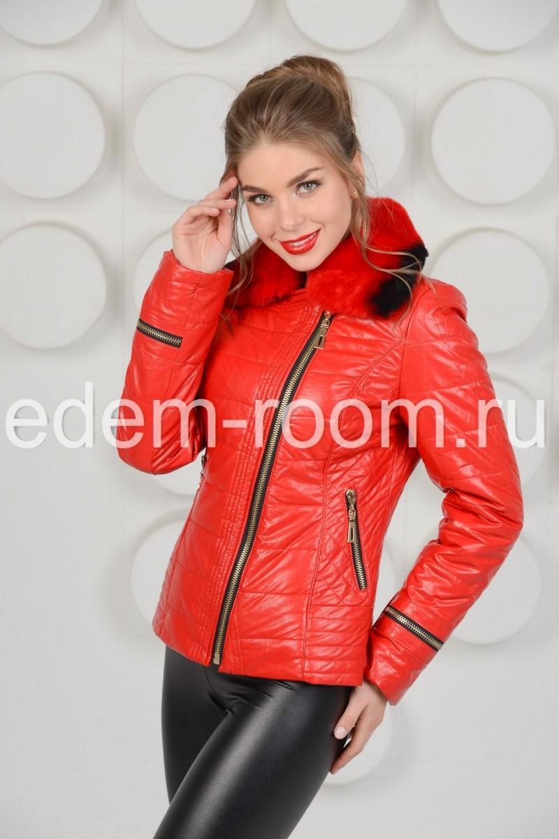 Куртка из красной экокожи