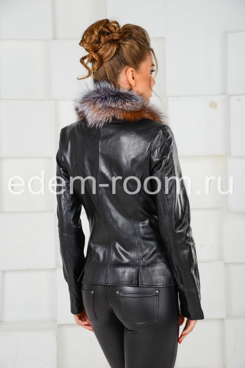 Кожаная куртка с мехм