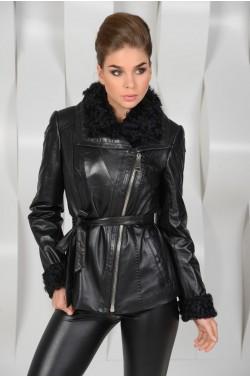 Чёрная кожаная куртка на синтепоне
