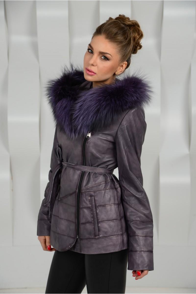 Модная кожаная куртка с капюшоном