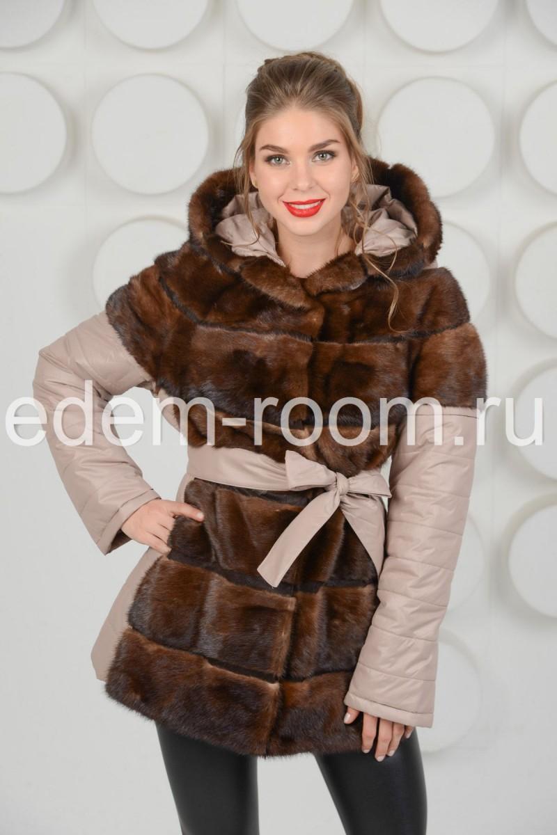 Женская куртка - жилетка с мехом норки