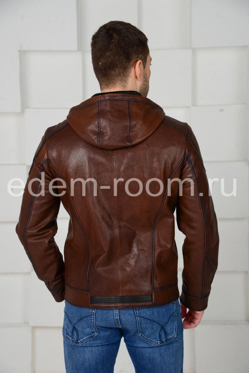 Коричневая кожаная куртка с капюшоном