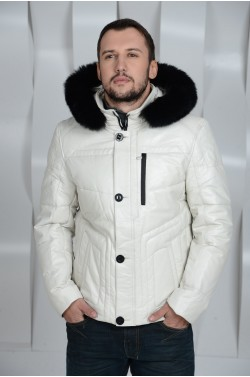 Белый мужской кожаный пуховик