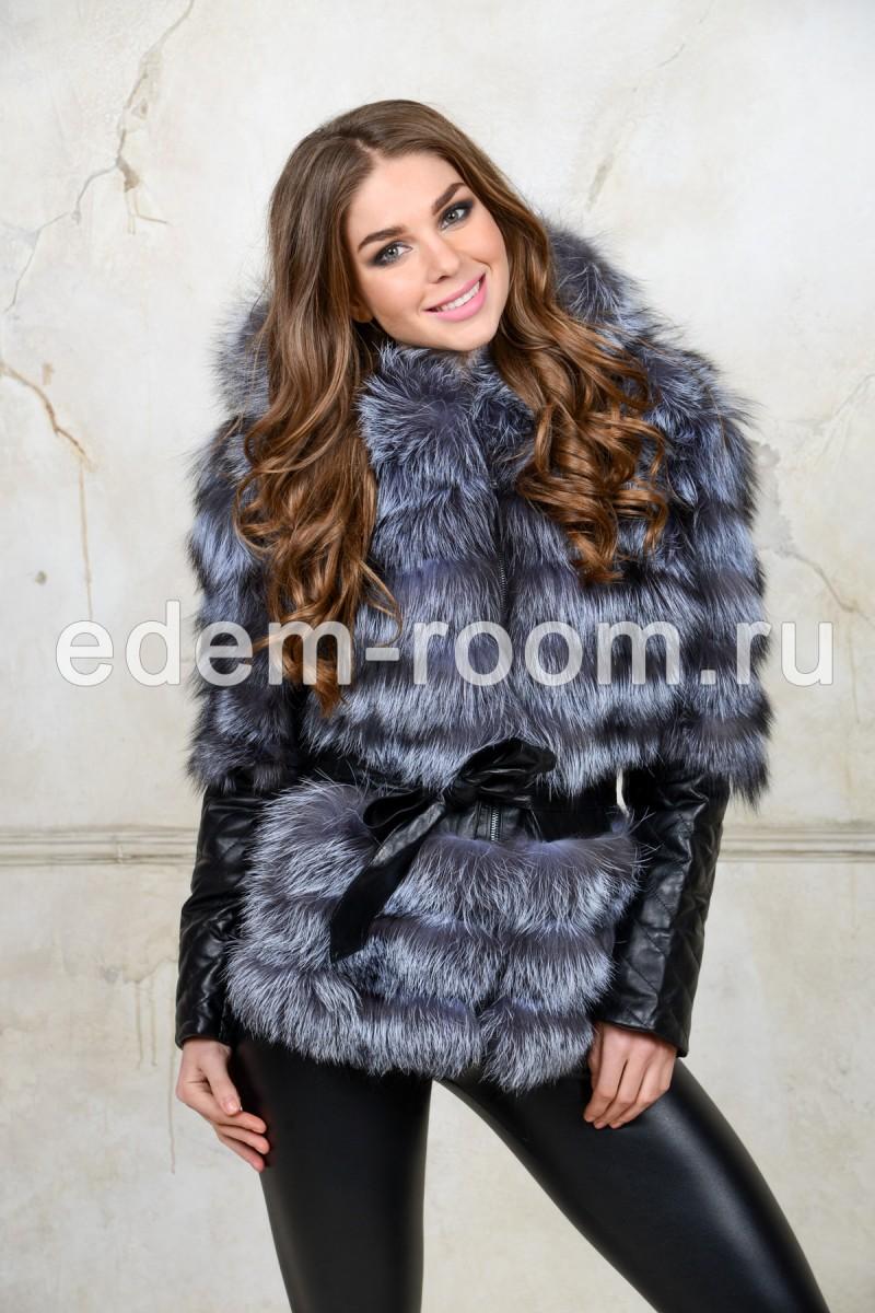 Меховая куртка с мехом чернобурки