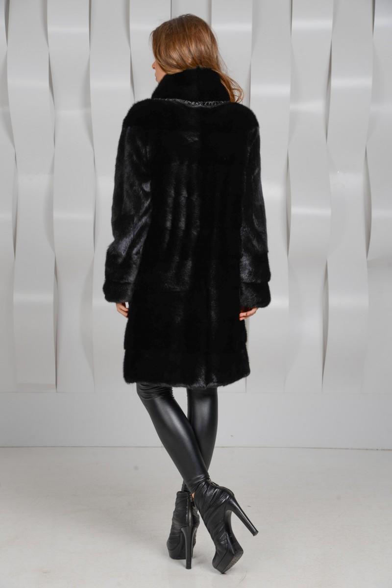 Чёрная норковая шуба - поперечка