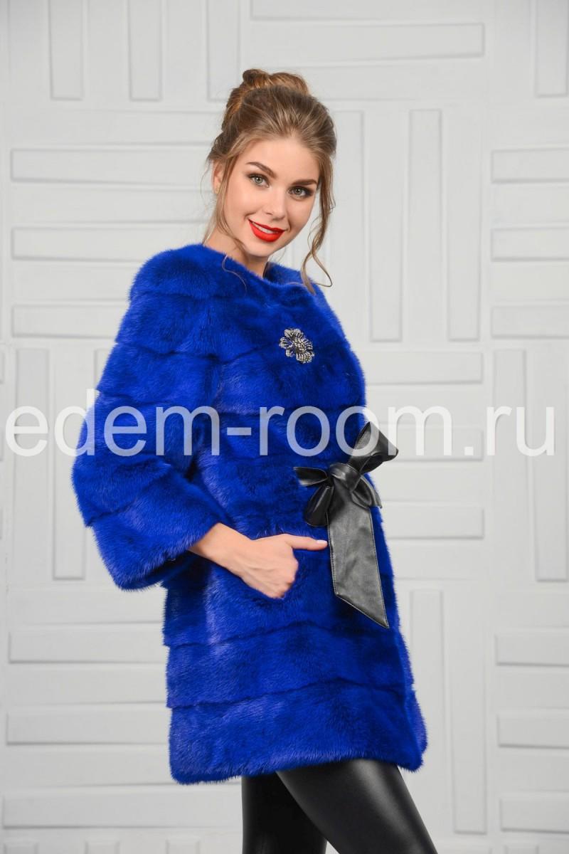 Шуба из синей норки Новинка -2016