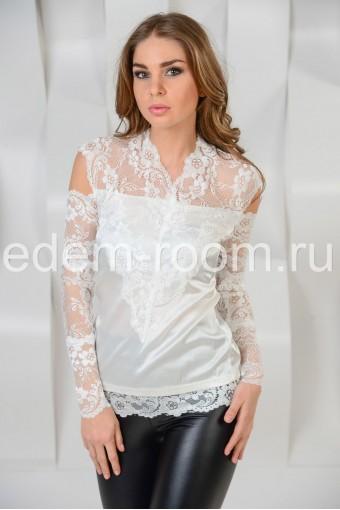 Белая  шёлковая блузка - кружево