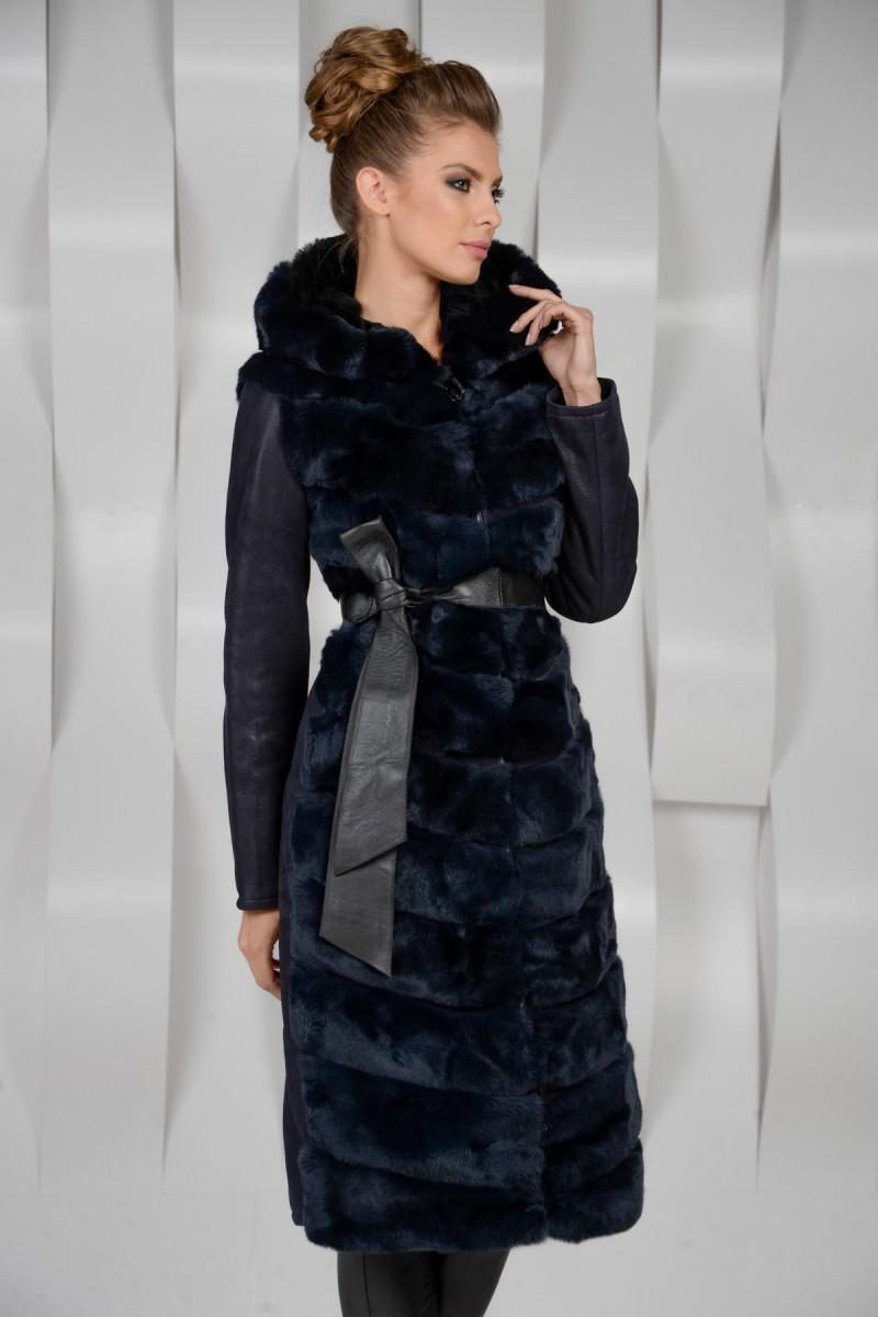 Модная дубленка комбинированная мехом кролика Рекс