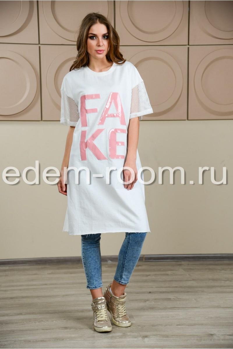 Длинная футболка с надписью