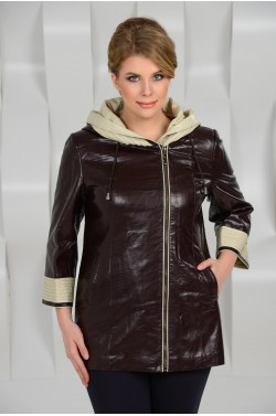 Куртка из эко-кожи с капюшоном