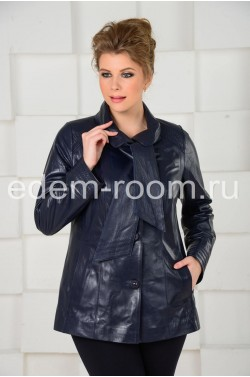 Синяя кожаная куртка для женщин