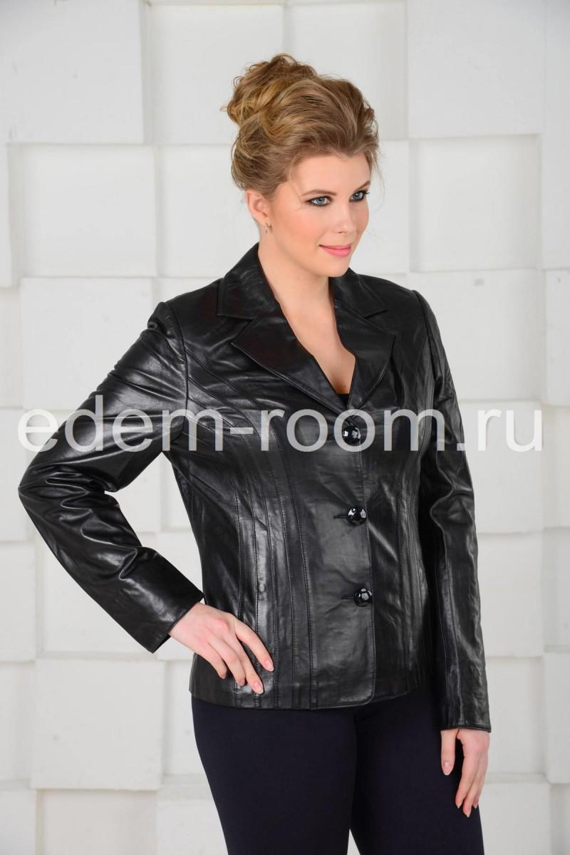 Чёрная кожаная куртка - пиджак