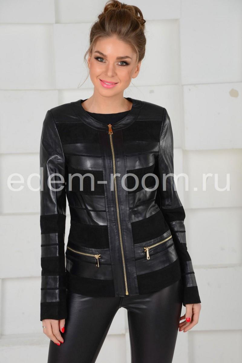 Кожаная женская куртка комбинированная замшей