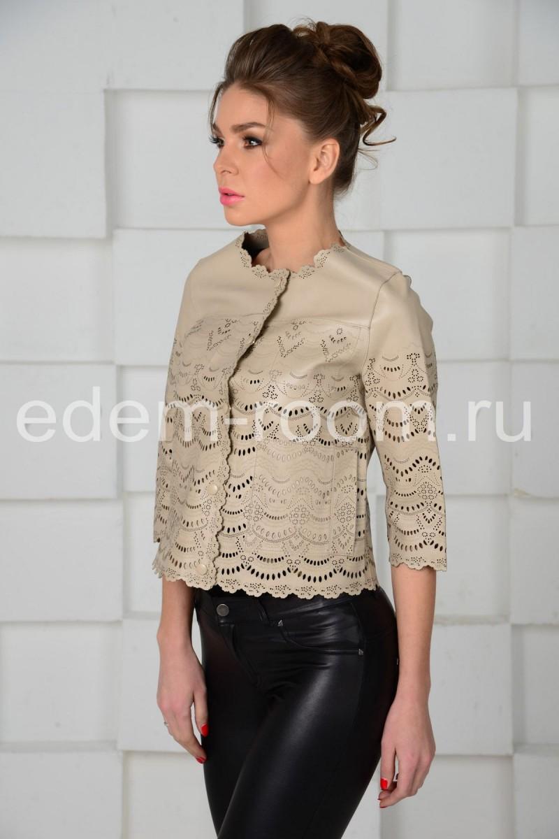 Красивая весенняя куртка из кожи