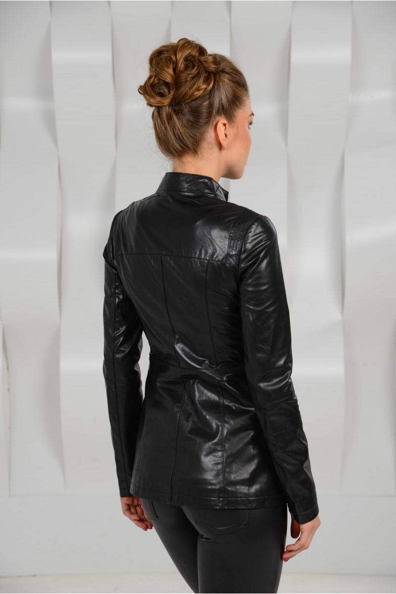 Удлинённая кожаная куртка на молнии