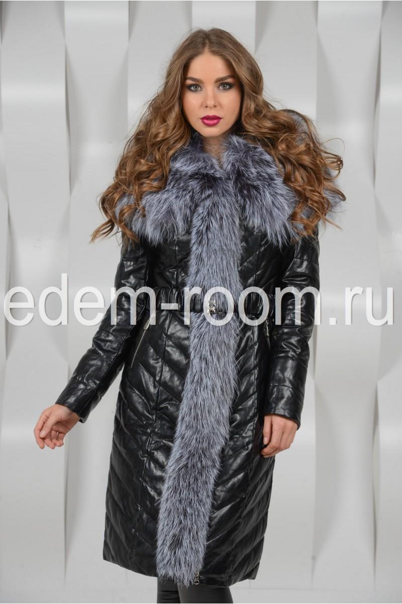 Красивое зимнее пальто из экокожи