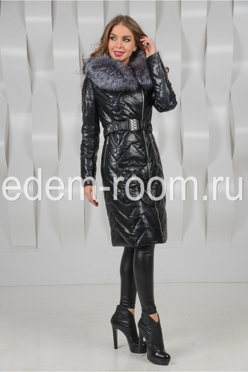 Чёрное зимнее пальто из экокожи