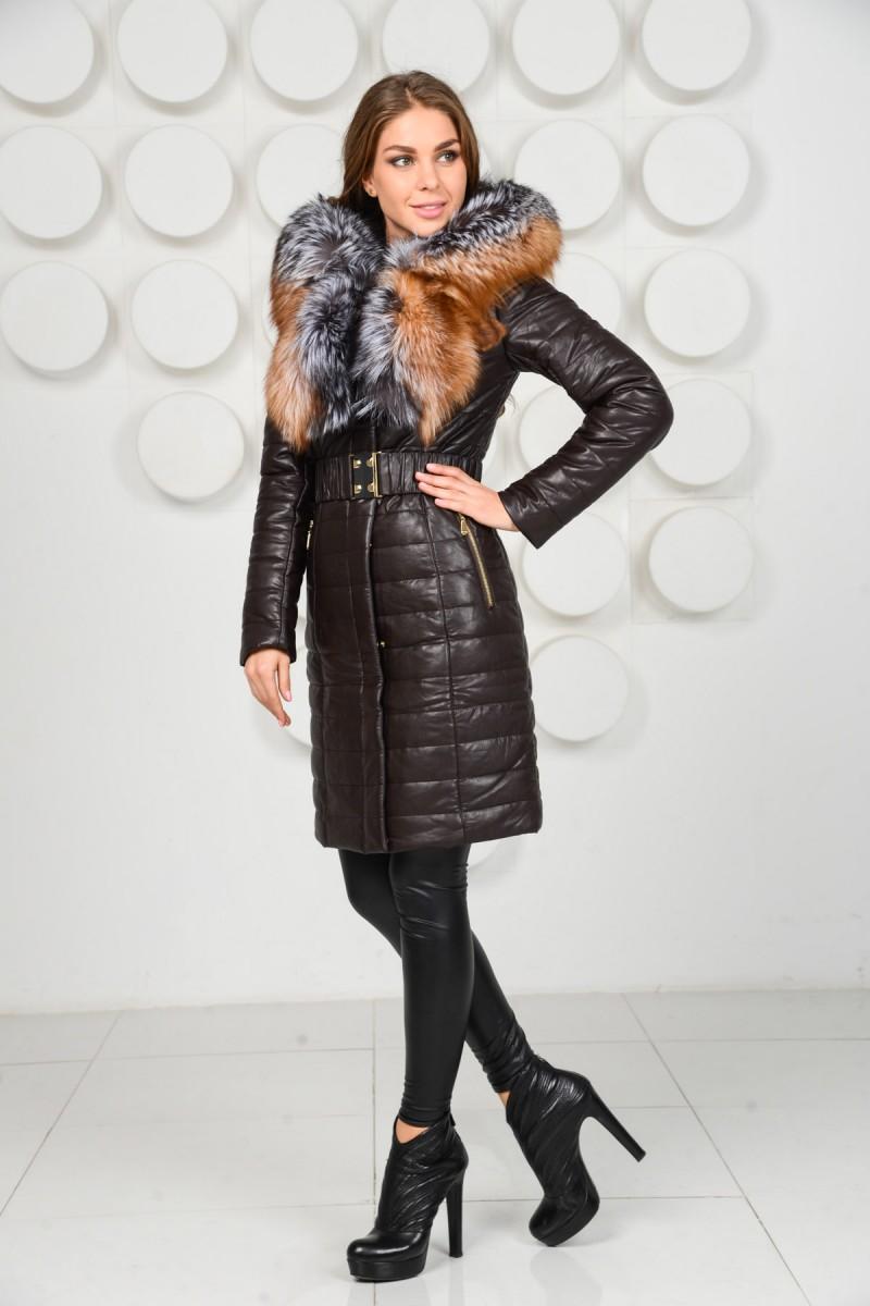 Пальто из искусственной кожи с натуральным мехом лисы