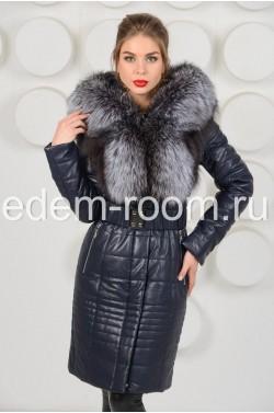 Пальто с натуральной чернобуркой