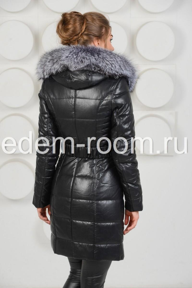Пальто из искусственой кожи