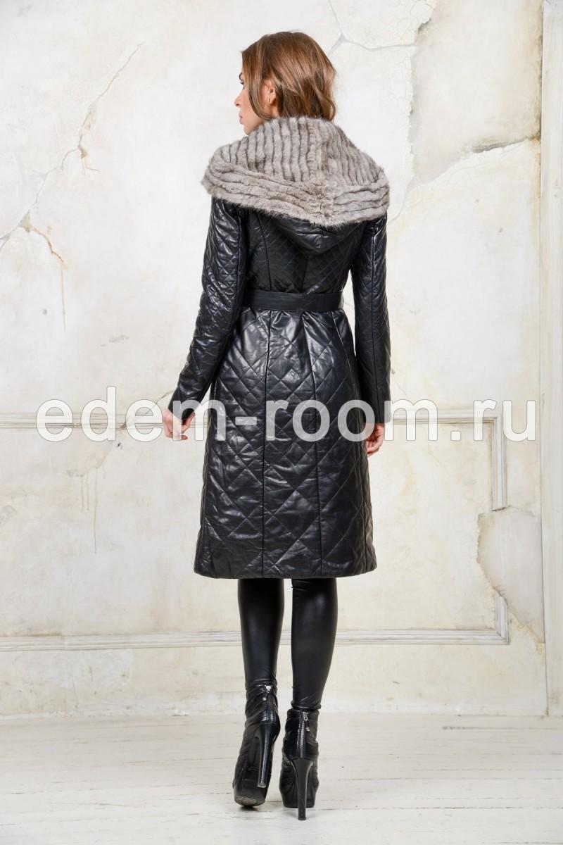 Пуховое пальто с мехом норки