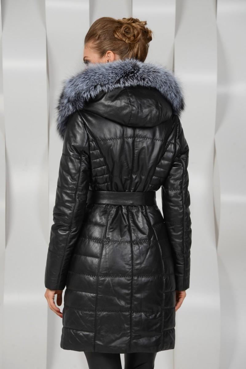 Зимнее кожаное пуховое пальто