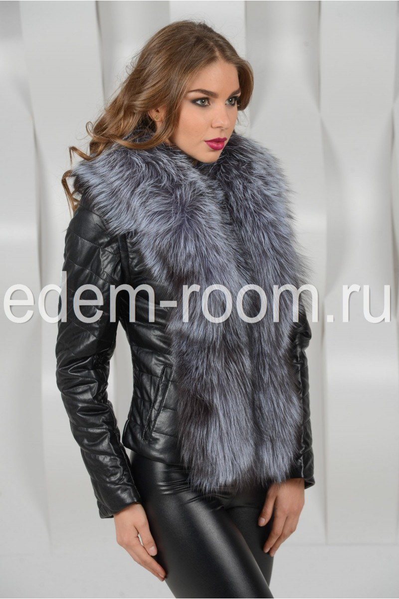 Куртка из экокожи с мехом чернобурки