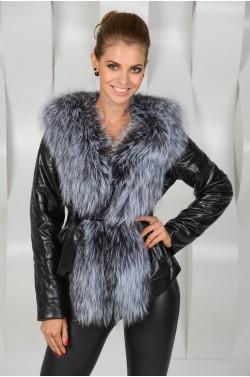 Эко-куртка с натуральной чернобуркой