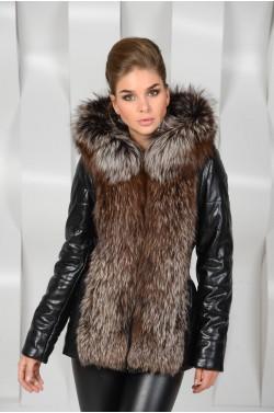 Куртка- жилетка  из экокожи с натуральным мехом