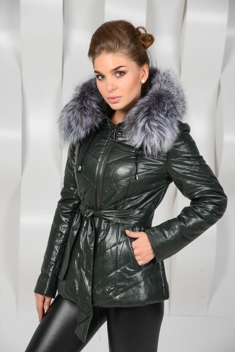 Зимняя куртка из искусственной кожи