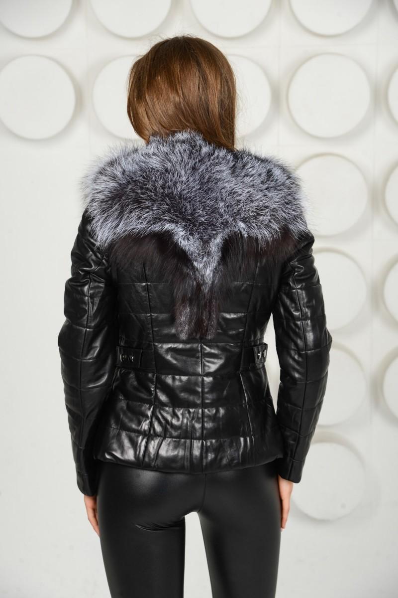 Куртка - жилетка с мехом чернобурки
