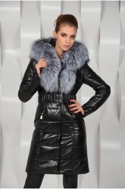 Зимнее пальто из натуральной кожи