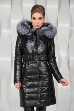 Кожаное пальто с мехом