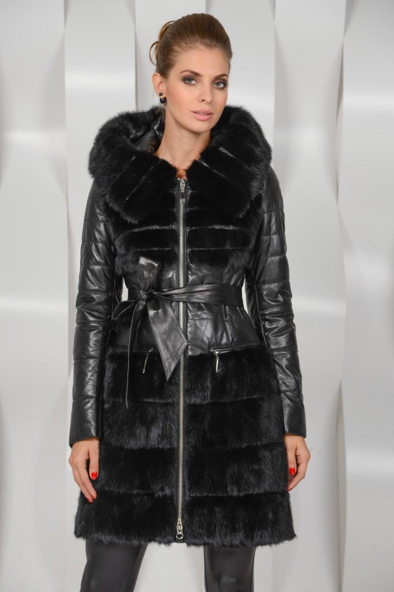 Кожаное пальто комбинированное мехом норки