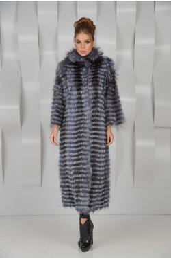 Удлинённое пальто из чернобурки