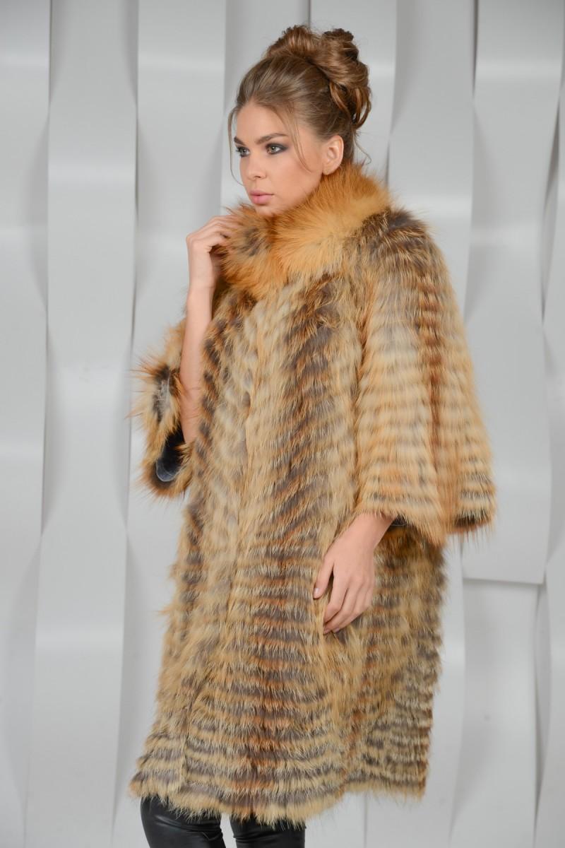 Меховое пальто из ражей лисы