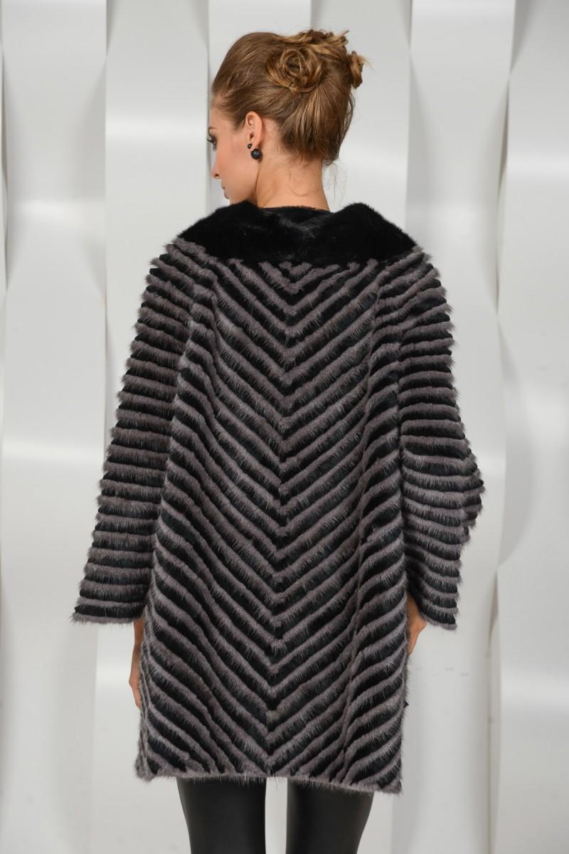 Меховое пальто из норковой нарезки
