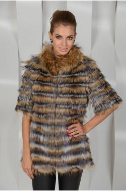 Меховое пальто из комбинированной лисы
