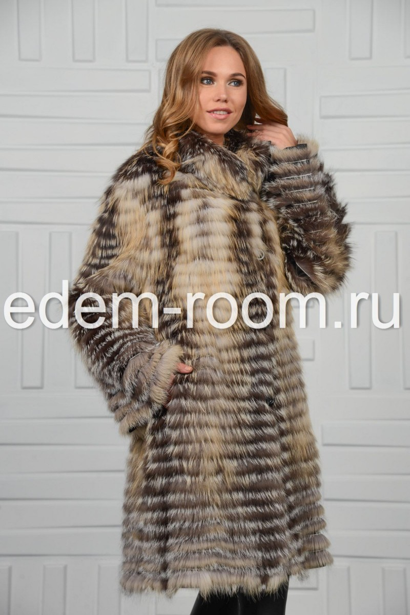 Меховое пальто из чернобурки и лисы
