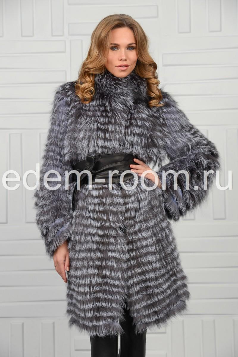 Пальто из чернобурки в роспуск